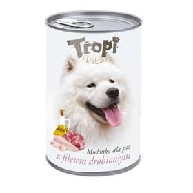 Tropi De Lux Dog kousky v konzervě, s příchutí kuřecího filetu 400g