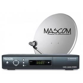 Satelitný komplet Mascom MC2600/60+karta Skylink Standart M7, příjem jedné družice čierny
