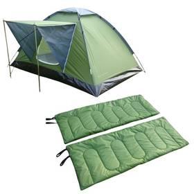 Sada SportTeam obsahuje stan a 2x spací pytle, 2 osoby, jednovchodový, jednoplášťový, zelená + Doprava zdarma