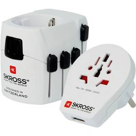 SKROSS PRO World & USB, 6,3A max. (PA41) biely