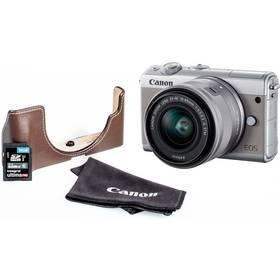 Canon EOS M100 + EF-M 15-45mm + EH31FJ + 16GB (2211C069) šedý + Doprava zdarma