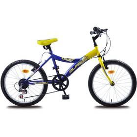 "Olpran Lucky 20"" modré/žluté + Reflexní sada 2 SportTeam (pásek, přívěsek, samolepky) -"