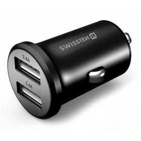 Swissten Metal 2x USB (20114000) čierny