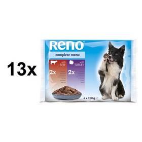 Reno pro psa s hovězím + s krůtím 13 x (4 x 100 g)