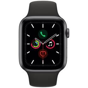 Apple Watch Series 5 GPS 44mm pouzdro z vesmírně šedého hliníku - černý sportovní řemínek (MWVF2HC/A)