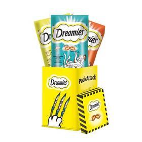 Pochoutky Dreamies + Packattack plechovka 180g