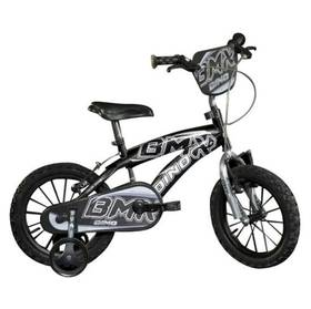 """Dino Bikes Dino Bikes 14"""" černé + Reflexní sada 2 SportTeam (pásek, přívěsek, samolepky) - zelené v hodnotě 58 Kč + Doprava zdarma"""
