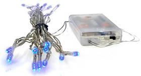 Vánoční osvětlení Solight 20 LED, 2m, řetěz, 3xAA, modré světlo, průhledný kabel