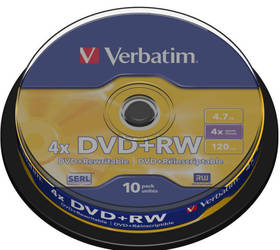 Verbatim DVD+RW 4.7GB, 4x, 10-cake (43488)