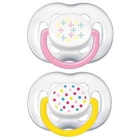Cumľom AVENT SENSITIVE FANTAZIE 6-18m. bez BPA, 2ks, potisk žlté/ružové