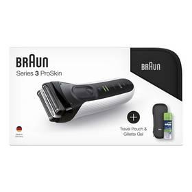 Braun Series 3 3040s W&D +toaletní taška+pouzdro+gel na holení biely