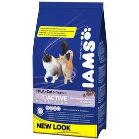 Granule Iams Multicat Chicken / Salmon 15 kg