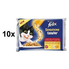 Felix Sensations Crunchy v želé s hovězím, kuřetem a křupavou posypkou 10 x (3 x 100g + 12 g)