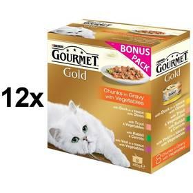 Gourmet Gold kousky se zeleninou ve šťávě Exotic Multipack 12 x (8 x 85g) + Doprava zdarma