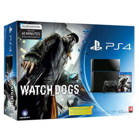 Herná konzola Sony PlayStation 4 500GB + hra Watch Dogs (PS719419013) čierna