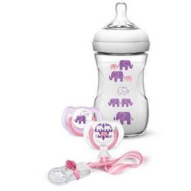 Philips AVENT 260 ml Natural PP + sada dudlík a klip na dudlík, slon růžová/fialová