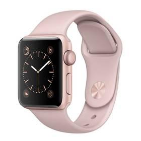 Apple Watch Series 1 38mm pouzdro z růžově zlatého hliníku – pískově růžový sportovní řemínek (MNNH2CN/A) + Doprava zdarma