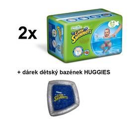 Huggies 2x Little Swimmers vel. 3-4/7-15 kg 12 ks + dětský bazének ZDARMA