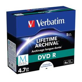 Verbatim DVD-R M-Disc 4,7GB, 4x, printable, jewel box, 5ks (43821)
