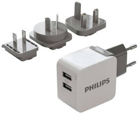 Philips DLP2220, 2x USB, 3,1A (Phil-DLP2220/10) černá