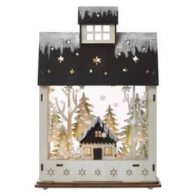 EMOS vánoční domek, 30cm, 2× AA, teplá bílá, časovač (1534231700)