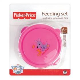 Fisher-Price miska+lžička+vidlička růžová