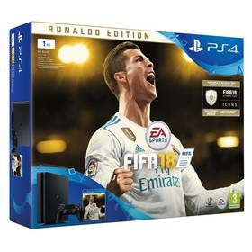 Sony PlayStation 4 SLIM 1TB + FIFA18 Ronaldo Edition + PS Plus 14 dní (PS719916765) černá