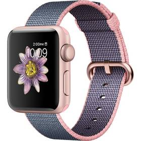 Apple Watch Series 2 38mm pouzdro z růžově zlatého hliníku – světle růžový / půlnočně modrý řemínek z tkaného nylonu (MNP02CN/A) + Doprava zdarma