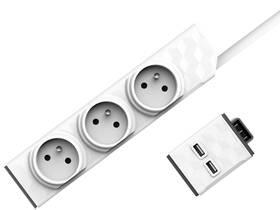 Powercube PowerStrip Modular 3m + USB modul bílý