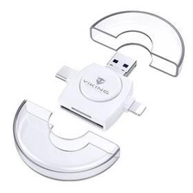 Viking SD, Micro SD 4v1, OTG, s koncovkou Lightning/Micro USB/USB 3.0/USB-C (VR4V1W) bílá