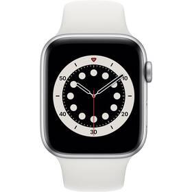 Apple Watch Series 6 GPS 44mm pouzdro ze střírbného hliníku - bílý sportovní náramek (M00D3VR/A)