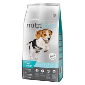 Nutrilove Dog dry Junior S-M fresh chicken 8kg Konzerva Nutrilove Dog paté Chicken 800g (zdarma)