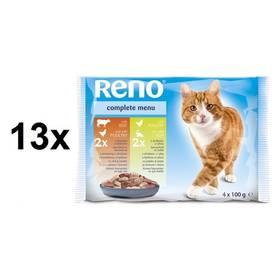 Fotografie Reno pro kočku s drůbežím a hovězím + s drůbežím a rybou 13 x (4 x 100 g)