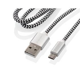 GoGEN USB / micro USB, 1m, opletený, zkumavka (MICUSB100MM24T) strieborný