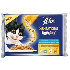 Kapsička Felix Sensations Crunchy v želé s lososem, tuňákem a křupavou posypkou 3 x 100g + 12 g