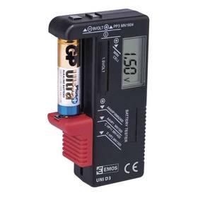 Tester baterii EMOS AA,AAA,C,D,9V, knoflíkové (UNI D3)