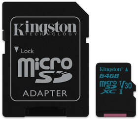 Kingston Canvas Go! MicroSDXC 64GB UHS-I U3 (90R/45W) + adapter (SDCG2/64GB)