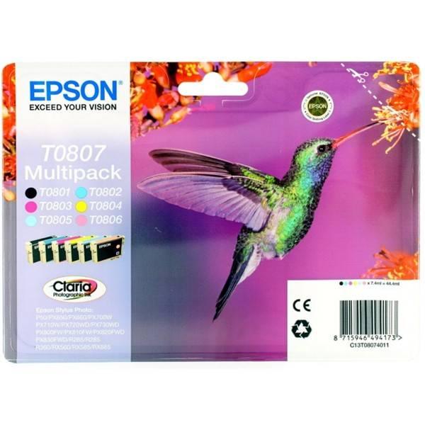 Inkoustová náplň Epson T0807 - originální (C13T08074011) černá/červená/modrá/žlutá