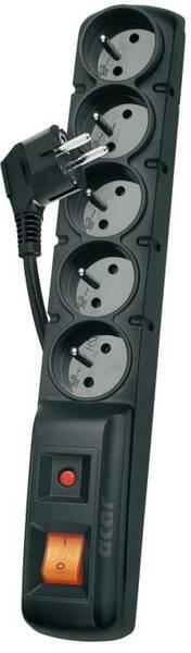 Přepěťová ochrana EMOS P53871, 1,5 m, 5 zásuvek černá