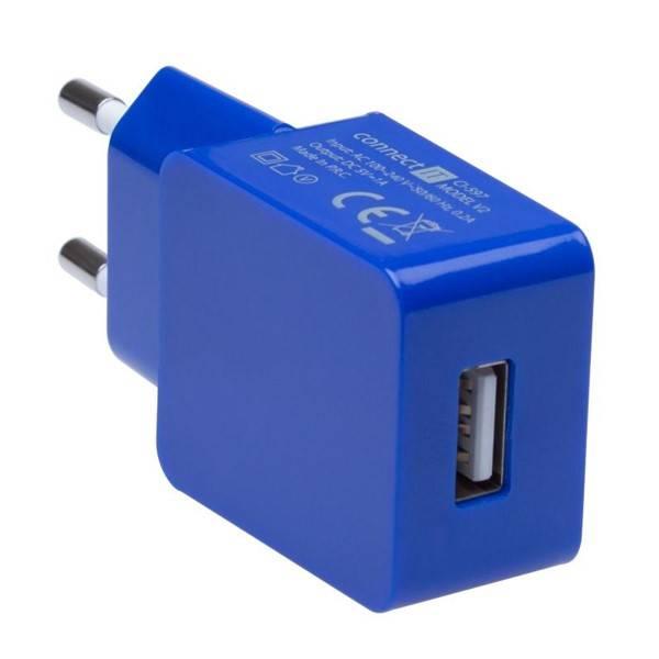 Nabíječka do sítě Connect IT COLORZ USB, 1A (CI-597) modrá