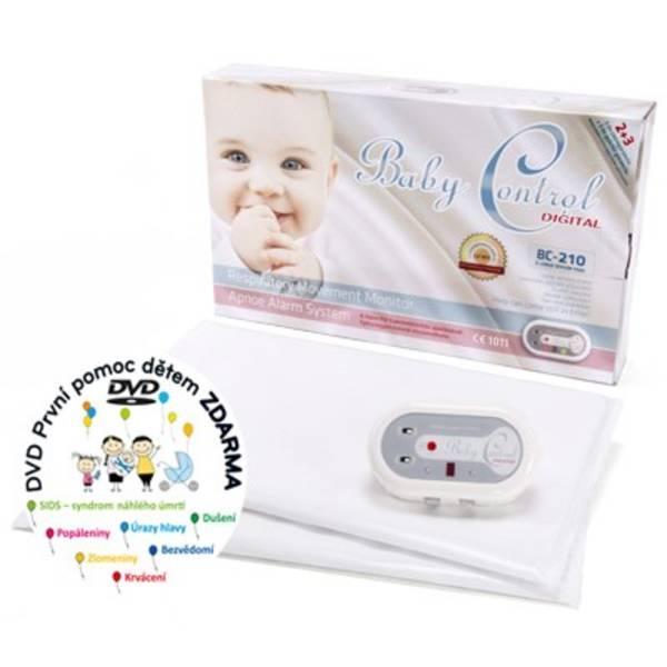 Monitor dychu Baby Control BC-210, dvě senzorové podložky biela