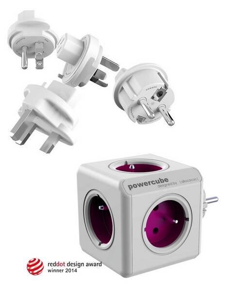 Cestovný adaptér Powercube ReWirable + Travel Plugs - fialový fialový