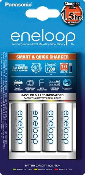 Nabíječka Panasonic Eneloop Smart-Quick Charger pro AA,AAA + 4x Panasonic Eneloop 1900mAh (K-KJ55MCC40E) bílá