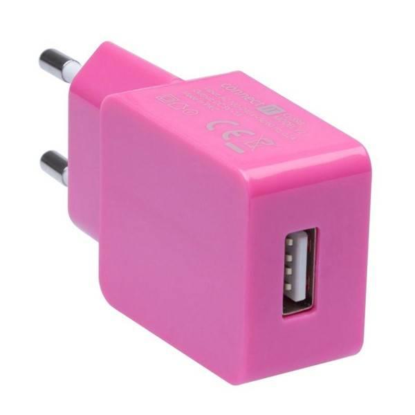 Nabíječka do sítě Connect IT COLORZ USB, 1A (CI-598) růžová