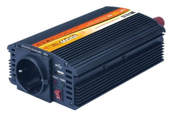 Měnič napětí Solight 12V, 300W, kovový, černý, 12V + USB 500mA (221881) (vrácené zboží 8800292308)