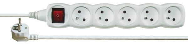 Kabel prodlužovací EMOS 5x zásuvka, 3m, vypínač (1902150300) bílý