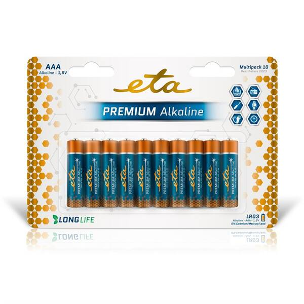 Baterie alkalická ETA PREMIUM ALKALINE AAA, LR03, blistr 10ks (R03PREM10)