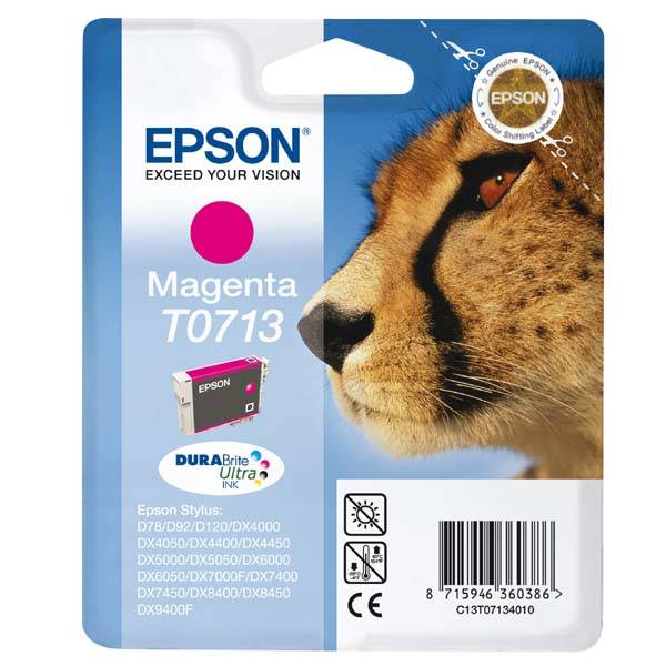 Inkoustová náplň Epson T0713, 270 stran (C13T07134012) růžová