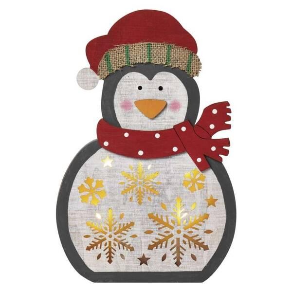 LED dekorace EMOS vánoční tučňák dřevěný, 30cm, 2× AAA, teplá bílá, časovač (1534233200)