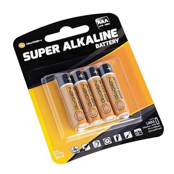 Baterie alkalická GoGEN SUPER ALKALINE AAA, LR03, blistr 4ks (GOGR03ALKALINE4)
